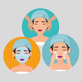 Groep mooie vrouwen in gezichtsbehandeling