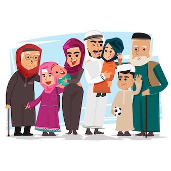 Groep moslimfamilie - vectorillustratie
