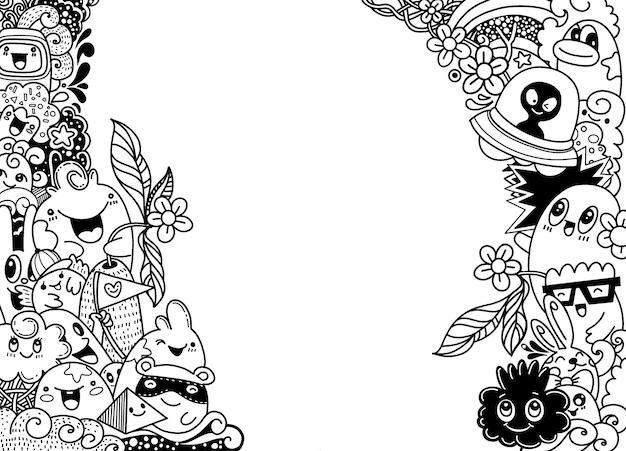 Groep multicultureel gelukkig schattig monster sjabloon voor reclame brochure