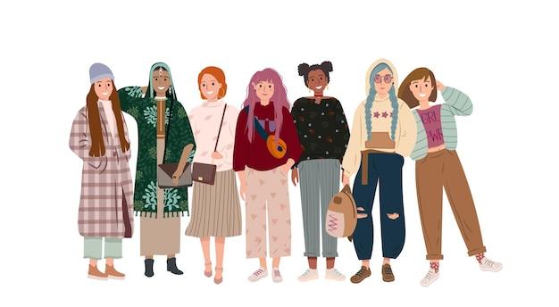 Groep multiculturele stijlvolle jonge vrouwen van verschillende nationaliteiten