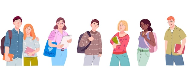 Groep multiculturele studenten. tienerjongens en -meisjes of schoolvrienden in vrijetijdskleding.