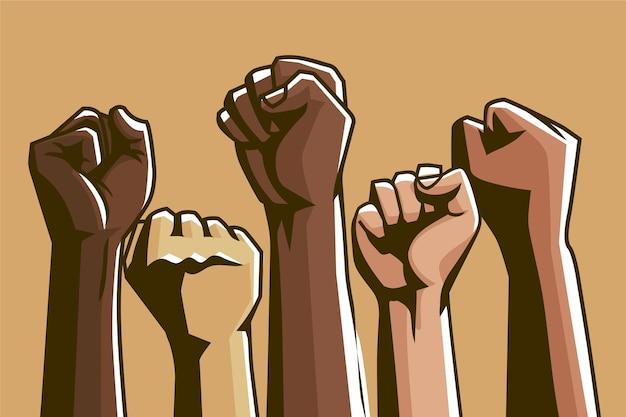 Groep multiraciale opgeheven vuisten