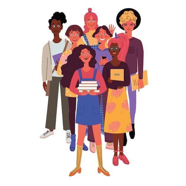 Groep multiraciale studenten zwaaien naar de camera. gelukkige jonge meisjes en jongens die boeken en notitieboekjes houden