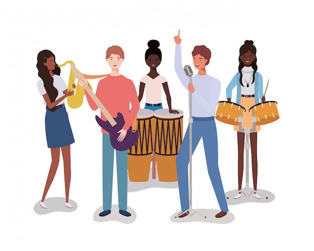 Groep muziekband spelen instrumenten personages