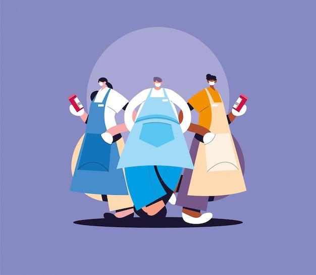 Groep obers met gezichtsmasker en uniform