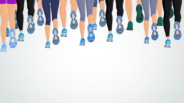 Groep of lopende mensen benen achteraanzicht achtergrond vector illustratie