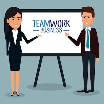 Groep ondernemers met karton teamwerk illustratie