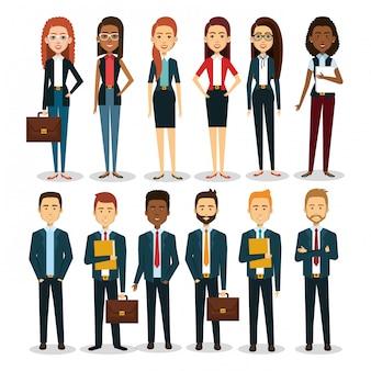 Groep ondernemers met portfolio teamwerk illustratie