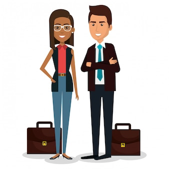 Groep ondernemers met portfolio teamwerk illustratie Gratis Vector