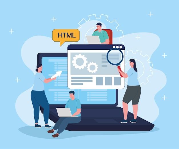 Groep ontwikkelaarsoftware met laptopkarakters