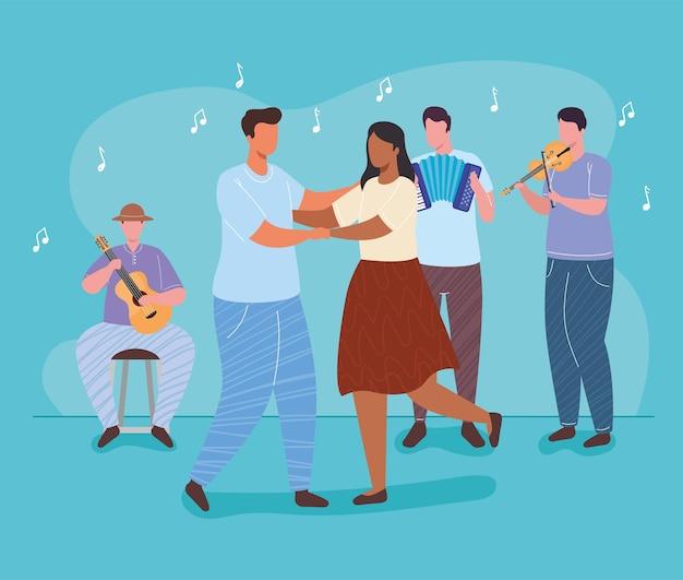 Groep orkest en paar dansende karaktersillustratie