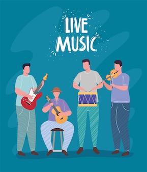 Groep orkest spelende instrumenten en live muziek belettering illustratie