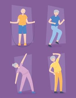 Groep oude mensen die oefeningen doen