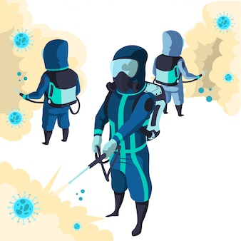 Groep overheidsmedewerker geeft overal desinfecterende spray