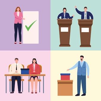 Groep personen verkiezingsdag