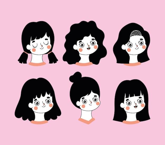 Groep pictogrammen van vrouwen op een roze achtergrondillustratieontwerp
