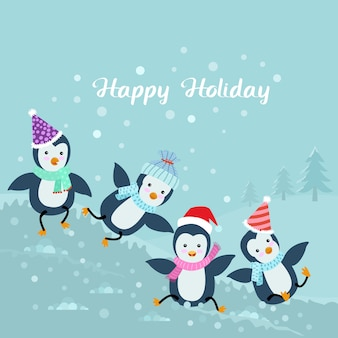Groep pinguïnspel op sneeuw.
