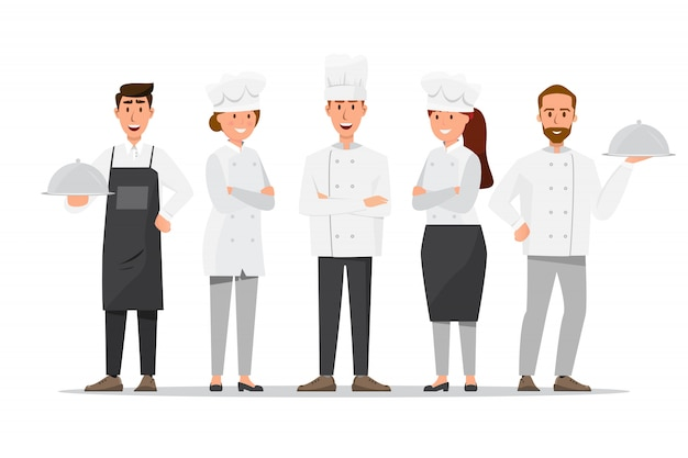 Groep professionele chef-koks, man en vrouwenchef-koks