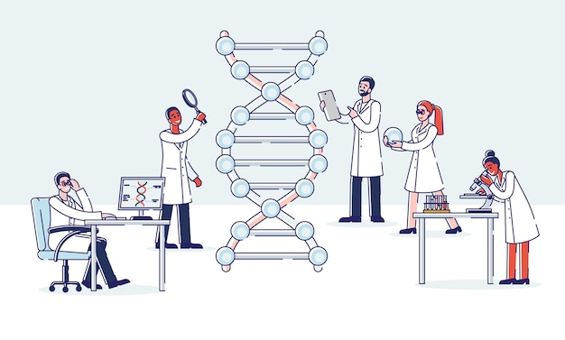 Groep professionele wetenschappers werken met molecuul dna