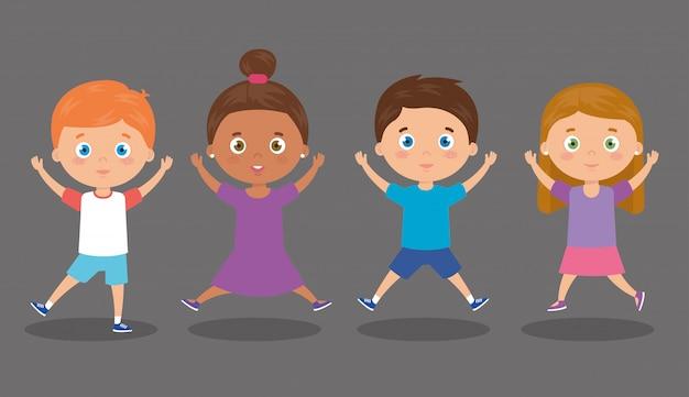 Groep schattige kleine kinderen illustratie