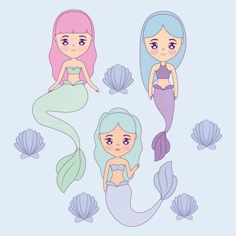 Groep schattige zeemeerminnen met zeeschelp