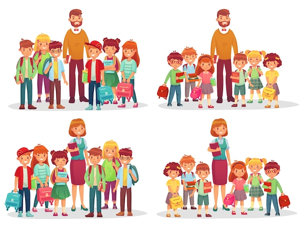 Groep schoolkinderen en leraar