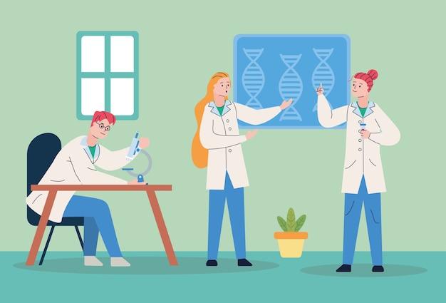 Groep scientifics met het vaccinscène van het microscooponderzoek