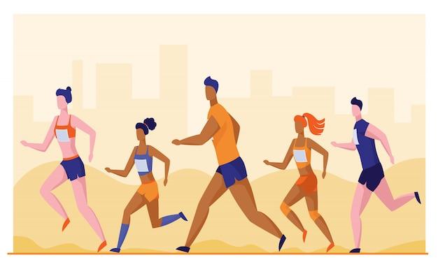 Groep sporters die marathon in werking stellen