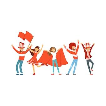 Groep sportfans in rode uitrusting met vlaggen die hun teamillustratie steunen