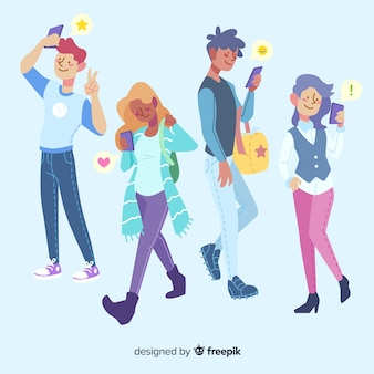 Groep stripfiguren met behulp van de telefoon