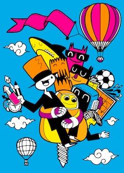 Groep stripfiguren vliegen