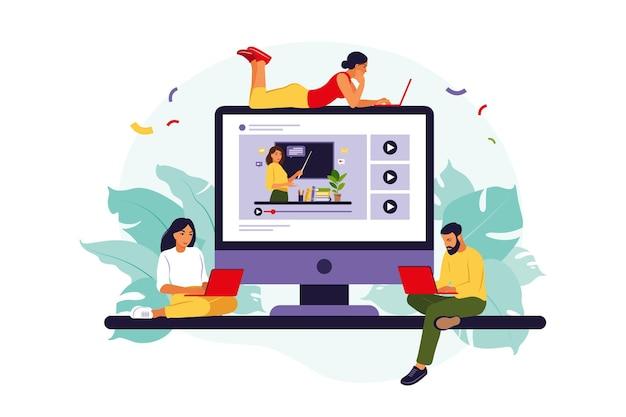 Groep studenten kijken naar online webinar. online onderwijsconcept.