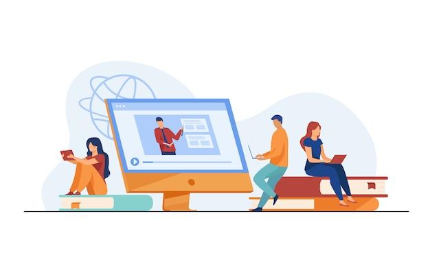 Groep studenten kijken naar online webinar
