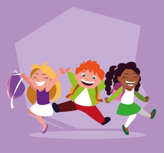 Groep studenten met schoolbenodigdheden, terug naar school