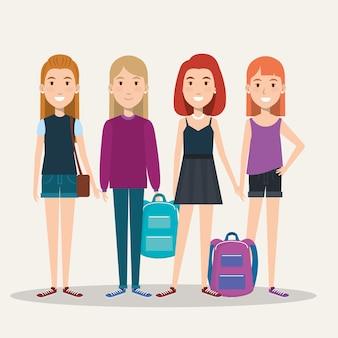 Groep studenten van de volledige hoogtemeisjes met zakken vrijetijdskleding