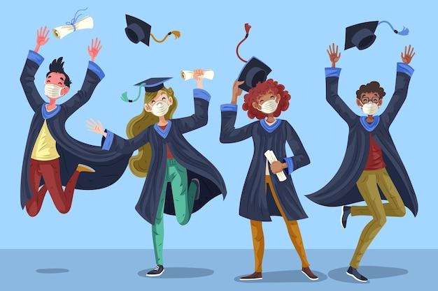 Groep studenten vieren hun afstuderen