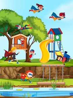 Groep superheld in de speeltuin