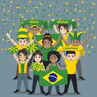 Groep supporters van het nationale voetbalteam van brazilië
