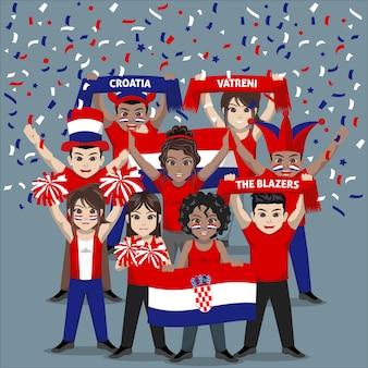 Groep supporters van het nationale voetbalteam van kroatië
