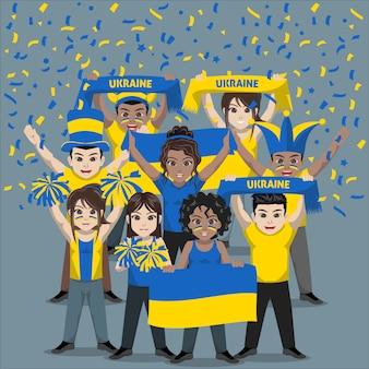 Groep supporters van het nationale voetbalteam van oekraïne