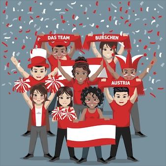 Groep supporters van het nationale voetbalteam van oostenrijk