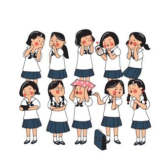 Groep thaise middelbare schoolkinderen geïsoleerd op achtergrond vectorillustratie