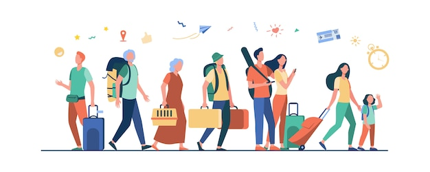 Groep toeristen met koffers en tassen die zich in luchthaven bevinden
