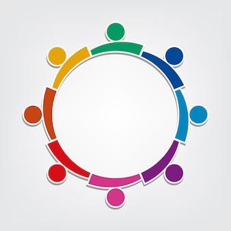 Groep van acht mensen logo in een cirkel. teamwerk holding personen