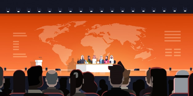 Groep van arabische zakenmensen op conferentie publiek debat interview over wereldkaart illustratie officiële bijeenkomst van arabische politici