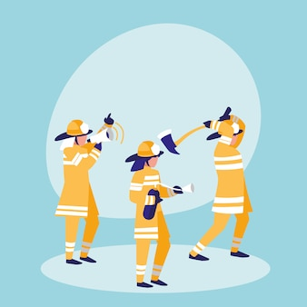 Groep van brandweerlieden avatar karakter