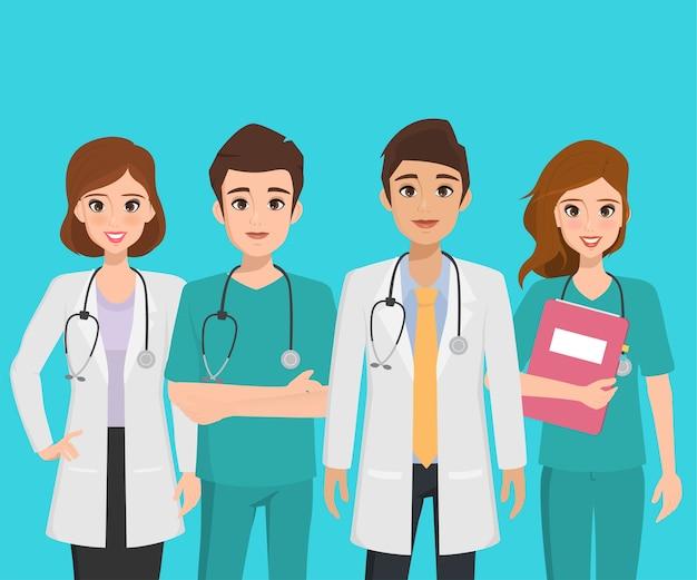 Groep van de arts karakter in het ziekenhuis