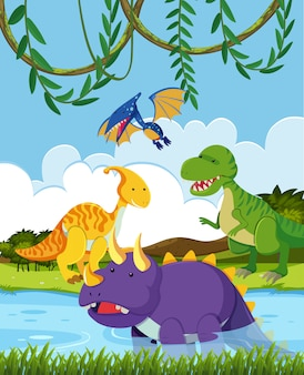 Groep van dinosaurussen in de natuur