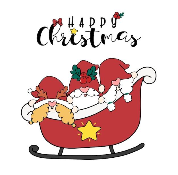 Groep van drie gelukkige glimlach christmas gnome in santa slee schattige cartoon doodle platte vector