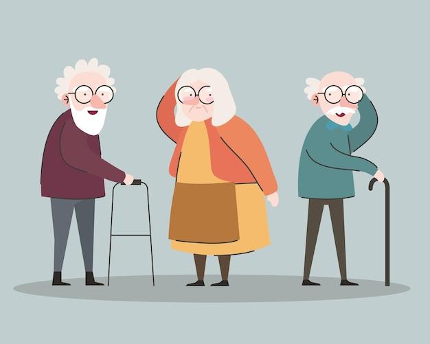 Groep van drie grootouders met behulp van rollator en suikerriet tekens vector illustratie ontwerp